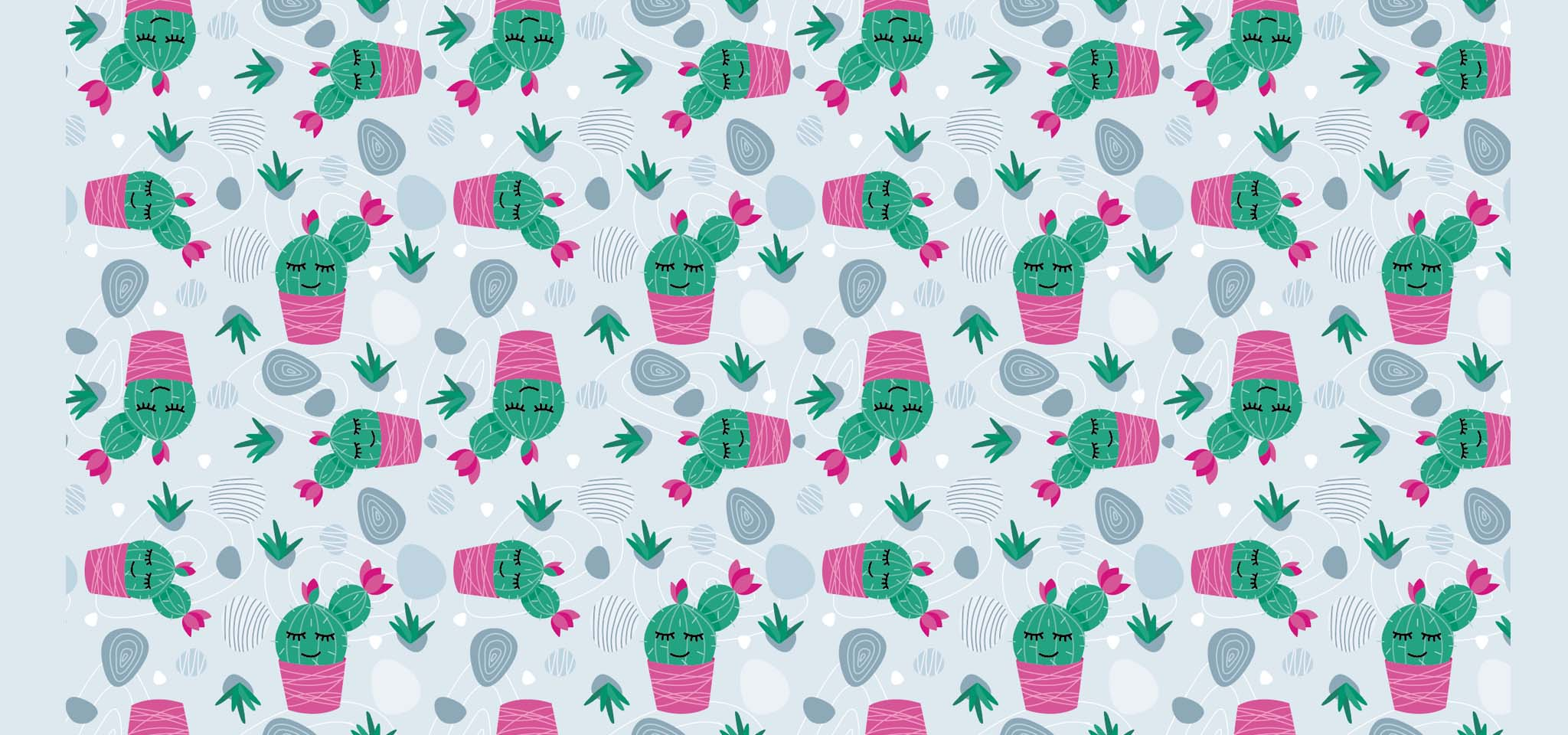 Pattern motif cactus galets illustration
