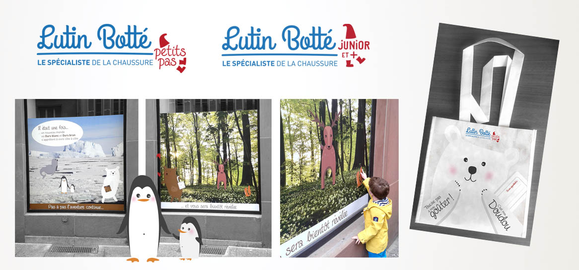Lutin Botté logo vitrine illustration